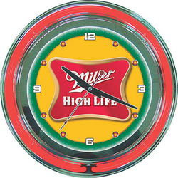 Miller High Life Neon Logo Clock