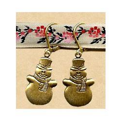 Antiqued Replica Brass Snowman Earrings