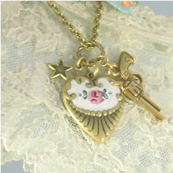 Gun, Star and Rosebud Charm Necklace
