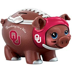 University Of Oklahoma Sooners Porcelain Football Piggy Bank