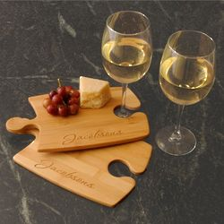 Personalized Puzzle Cutting Boards with Wine Glasses