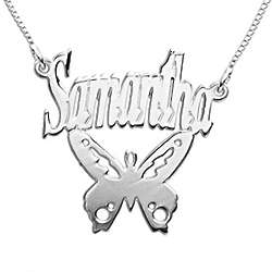 Personalized Sterling Silver Butterfly Child's Name Necklace