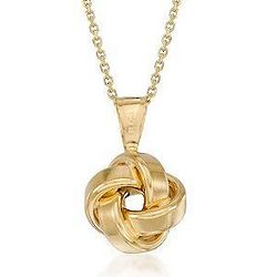 14K Yellow Gold Love Knot Pendant Necklace