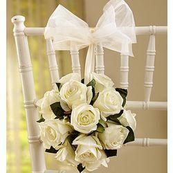 Silk White Rose Wedding Kissing Ball