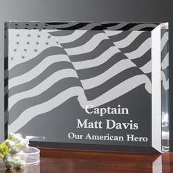 Personalized American Flag Hero Plaque