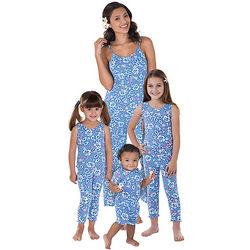 Mommy & Me Matching Blue Cotton Hawaiian Capri Pajamas
