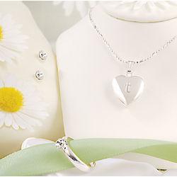 Personalized Sparkling Heart Locket Flower Girl Set