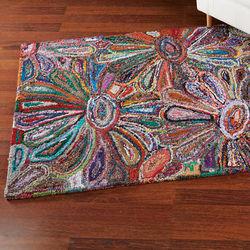 Vivid Floral Recycled Saris Rug