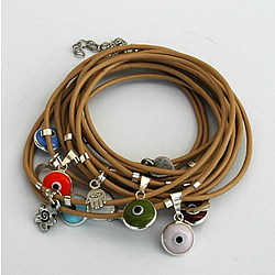 Camel Leather Wrapping Evil Eye Bracelet