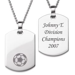 Stainless Steel Engraved Soccer Dog Tag Pendant