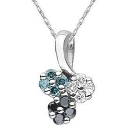 Black, White and Blue Diamond Flower Pendant in White Gold