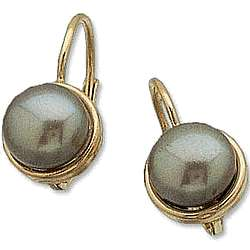 14k Gold Freshwater Black Pearl Lever Back Earrings