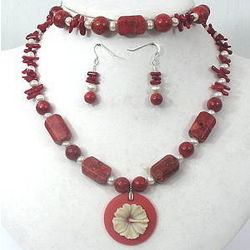 Red Coral Pendant Necklace, Bracelet, and Earrings Set