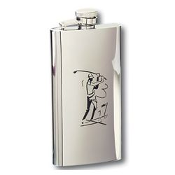 Golfer Swinging Slim Flask