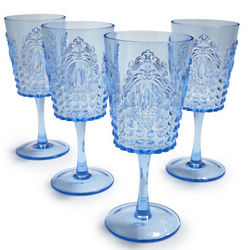 Light Blue Ruby Wine Glasses