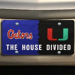Gators and Hurricanes House Divided Mirrored License Plate