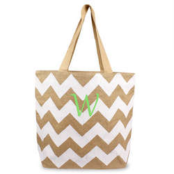 Chevron Natural Jute Tote Bag