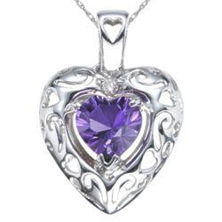 Amethyst Heart Pendant in 14 Karat White Gold
