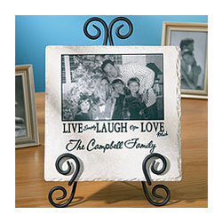 Live, Laugh, Love Tumbled Marble Photo Tile