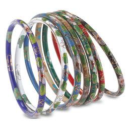 Set of 7 Cloisonné Bangle Bracelets