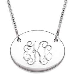 Engraved Sterling Silver Oval Necklace