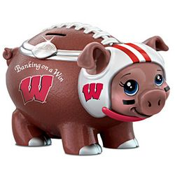 Wisconsin Badgers Porcelain Football Piggy Bank