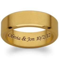 Men's Gold Stainless Steel Inside Engraved Message Band