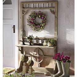 Screen Door Vintage Wooden Plant Shelf