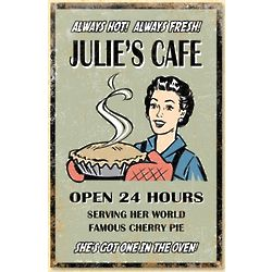 Personalized Vintage Cafe Metal Wall Sign