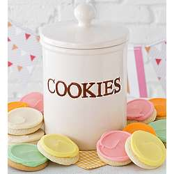 Cookie Jar Filled with Buttercream Frosted Cookies