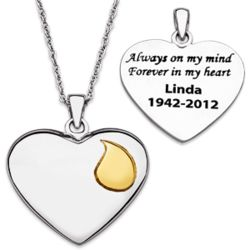 Personalized Always On My Mind Memorial Heart Necklace