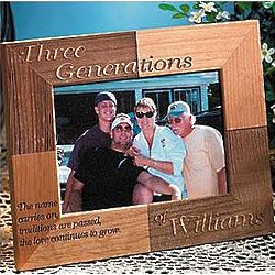 Personalized Oak Three Generations Name Carries On Frame