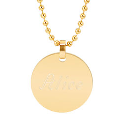 Personalized Gold-Plated Small Round Tag Stainless Steel Pendant