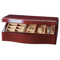 Brown Stain Solid Maple Wave Design Jewelry Box