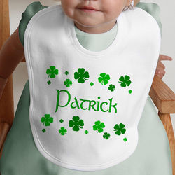 Shamrock Personalized Baby Bib