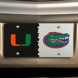 Florida Gators and Miami Hurricanes House Divided License Plate