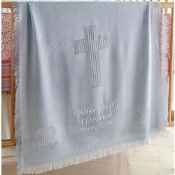 Blue Personalized Woven Cross Baby Blanket