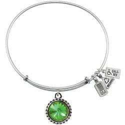 August Swarovski Birthstone Charm Bangle Bracelet
