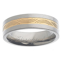 Men's Titanium Engraved Two-Tone Pattern Band