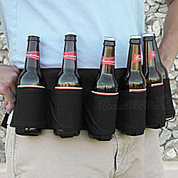 Black Six-Pack Beer Holster Belt