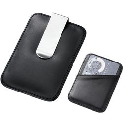 Black Leatherette Card Holder and Stainless Steel Money Clip