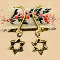 Antiqued Replica Brass Star of David Earrings