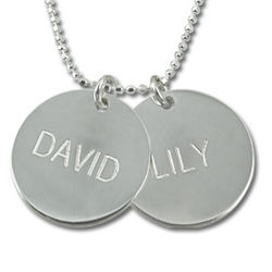 A Mother's Personalized Silver Disc Necklace