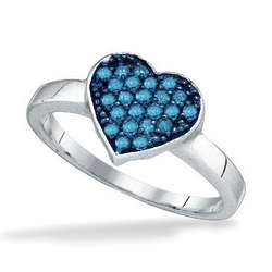 White Gold and Blue Diamond Heart Promise Ring