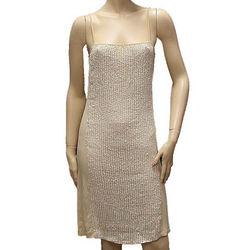 Beige Silk Knee Length Dress