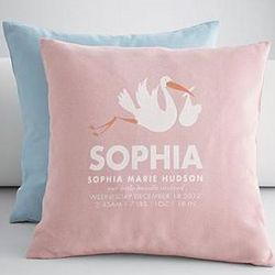 Personalized Stork Announcement Throw Pillow Cover