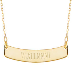 Personalized Roman Numeral Gold Curved Name Bar Necklace