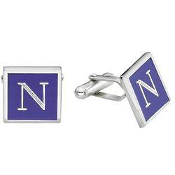 Blue Enamel Engraved Initial Cufflinks