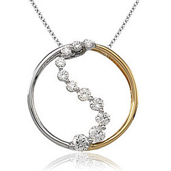 1/2 Carat Diamond 14k Two Tone Gold Stylish Round Journey Pendant