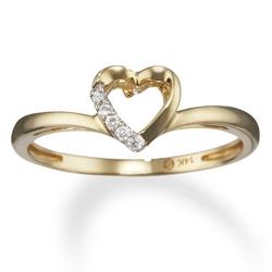 Diamond Open Heart Promise Ring in 14k Gold